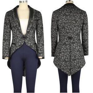 Jackets & Blazers - Plus Size Collar Long Split Tail Jacket Coat Gray
